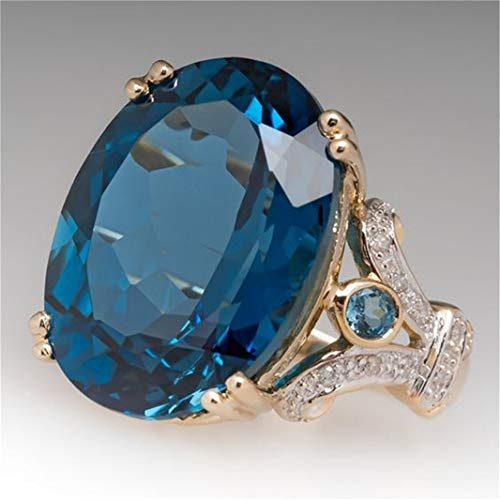 Guoshang Oval Women's Elegant Cut Natural Blue Sapphire Princess Engagement Wedding Ring with Diamonds for Her,6