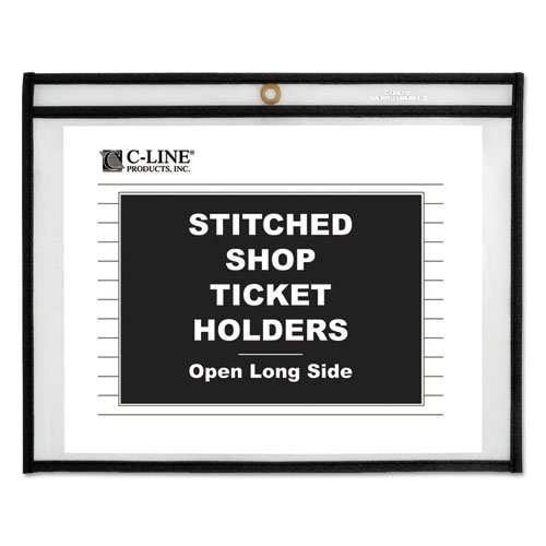C-Line Shop Ticket Holders, Stitched, Sides Clear, Open Long Side, 11 x 8 1/2-25 Holders. by C-Line