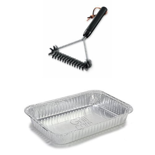 Weber Q Drip Pans - Weber 6494 12-Inch 3-Sided Grill Brush and Drip Pan Bundle