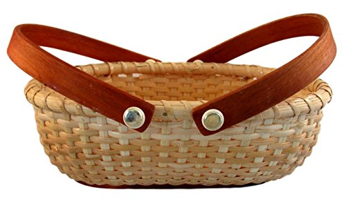 Nantucket Summer Woven Oblong Bread Style Basket with Handle (Small)