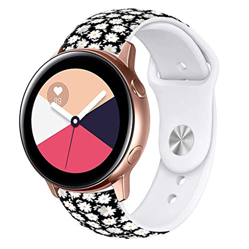 Viwell Silicone Fadeless Pattern Printed Replacement Bands Compatible Galaxy Watch Active 40mm Bands, 20mm Silicone Strap Sports Replacement Bracelet Wristband for Galaxy Watch 42mm White Daisies