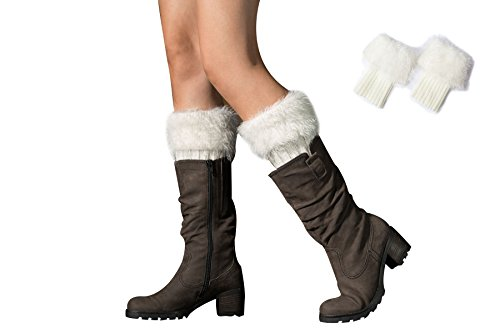 Novel Harp Womens Faux Fur Warm Fuzzy Leg Warmers Boot Sleeves Boot Covers