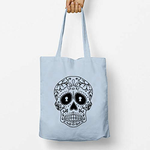Day Of The Dead Festival Shoulder Bag Eco-Friendly and Reusable Long Carrying Handle Strong and Durable Cotton Tote Shopping Bag Gym Bag Sugar Skull Halloween Cotton Shopper