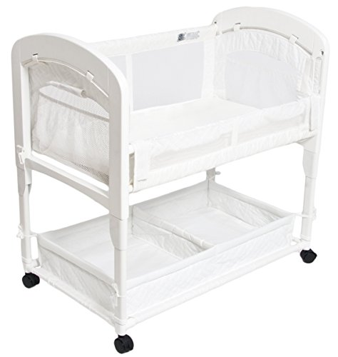 Arm's Reach Cambria Co-Sleeper Bassinet, Quilted Poly Without Skirt White For Sale