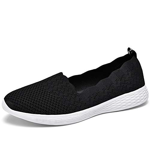 BEJINASH Slip on Shoes for Women Walking Loafers Fashion Flats Dressy Sneaker Knit Breathable White/Black/Grey
