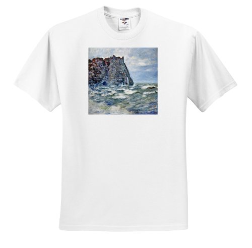 1883 Rough (FabPeople - Claude Monet Portraits - Port d Aval, Rough Sea, Claude Monet Painting 1883, PD-US - T-Shirts - Adult T-Shirt Large (ts_179239_3))