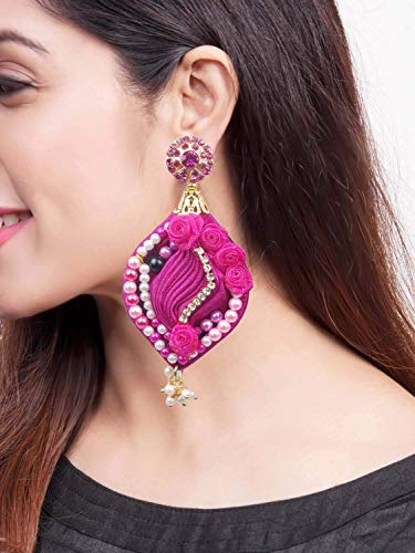 Krishna Handmade Glittering Silk SHIBORI Earring with Crystal Embroidery/Loreal Dangle Drops/Traditional Fabric Indian Earrings/Wedding Vintage Earrings/Queen-Crystal-105 / PINK Jewelry