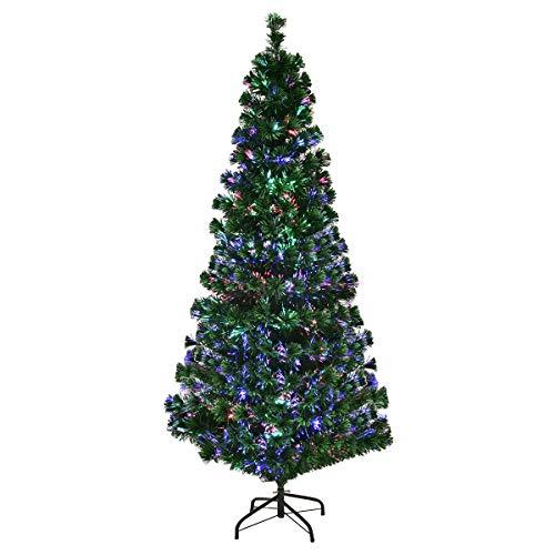 Goplus Artificial PVC Christmas Tree Pre-Lit Fiber Optic Tree (6 FT)