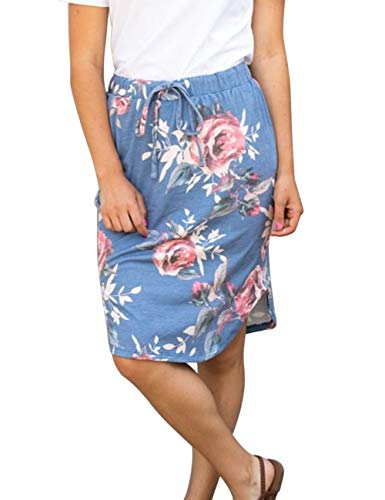 Wenseny Womens Floral Skirts Knee Length Pencil Skirts High Waist Midi Bodycon Drawstring Daily Dresses Blue Floral 2XL