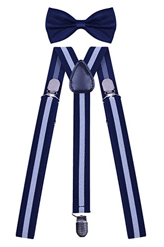 (WDSKY Men's Bow Tie and Suspenders Set for Wedding Party Adjustable Navy White Stripe)