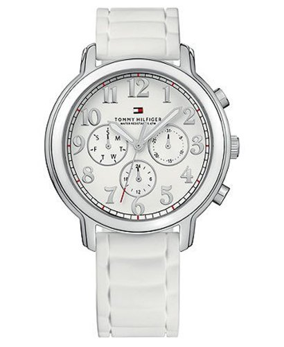 Tommy Hilfiger White Wrist Watch (Tommy Hilfiger Reily Multifunction White Silicone Strap Women's Watch #1780958)