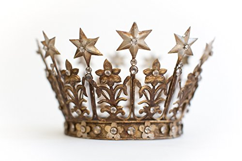 Gold Crown Cake Topper, Wedding Cake Topper, Antique Gold Crown, Santos Crown, Star Crown, The Queen of Crowns, Elizabeth Crown Antique Wedding Cake Toppers