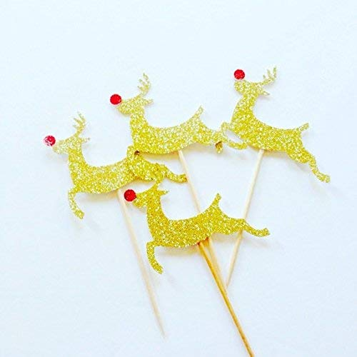 Pack Of 12 Christmas Reindeer Gold Glitter Card Cupcake Topper oh deer rudolf cup cake toppers, christmas decorations cupcake topper, cake topper