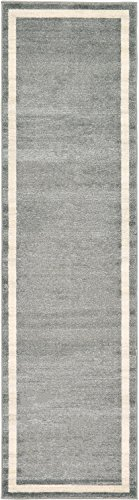 Unique Loom Del Mar Collection Contemporary Transitional Gray Home Décor Runner Rug (3' x 10')