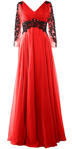 MACloth Women V Neck Mother of the Bride Dress Long Sleeve Formal Evening Gown Rojo