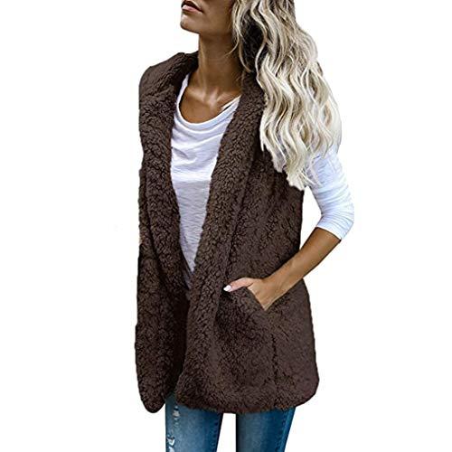 Holywin Womens Vest Winter Warm Hoodie Casual Wool Coat Faux Fur Zip up Jacket Coffee