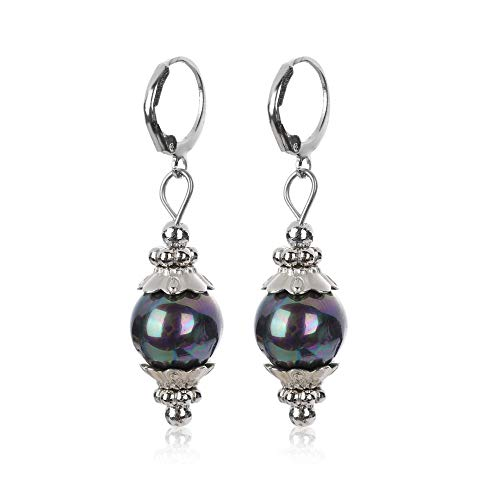 Tantawanfashionjewelry 12mm Tahitian Black Peacock Sea Shell Pearl Sterling Silver Leverback Earrings