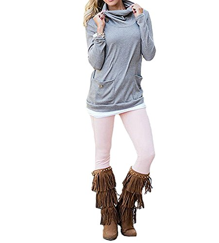 Long Sleeve Cowl Neck Top - 6