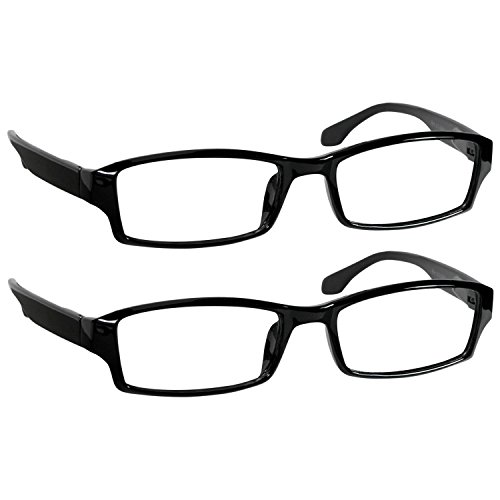 Reading Glasses 4.5 Black (2 Pack) Reader Glasses for Men and Women Have a Stylish Look and Crystal Clear Vision When You Need It! Spring Arms & Dura-Tight Screws