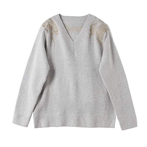 JIAKENVDE Harajuku Style Shoulder Gold Thread Embroidery V-Neck grau Knit Sweater Thick Years Loose Shirt damen