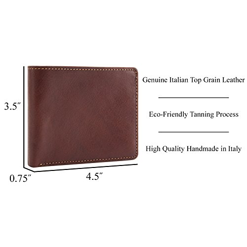 Mens Leather Bifold Wallet with ID Window Passcase Flap Multi Credit Card Slots Double Currency Divider Compartment made with Real Italian Cowhide Leather by Tony Perotti