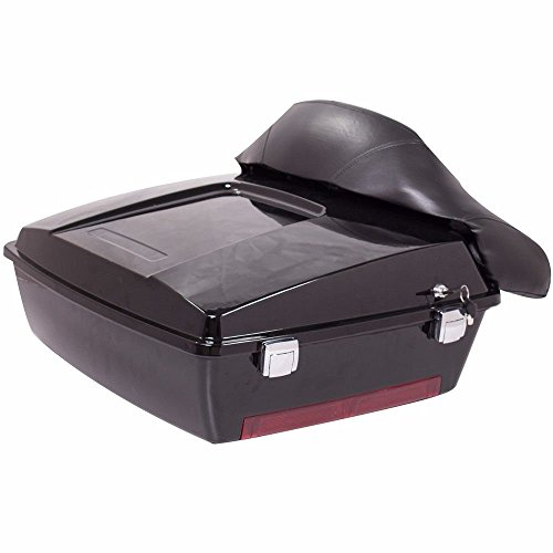 Black Motorcycle Large Pack Trunk for Harley Davidson Touring Electra Glide Road King with Backrest]()