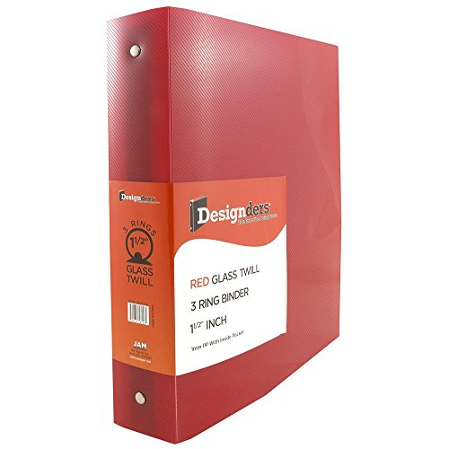 "JAM Paper Plastic 3 Ring Binder- 1.5"" - Red - Sold individually"