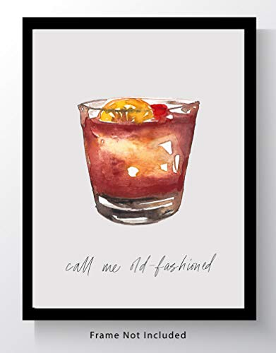 Old Fashioned Cocktail Bar Wall Art. 8x10 Unframed Decor Print - Makes a Great Gift for Kitchen, Home & Wet Bar, Martini, Wine or Tiki Bar.