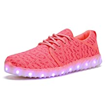 COODO Men's Women's Youth's LED Shoes 7-Color-Lights USB Charging Light up Sneakers CD2001