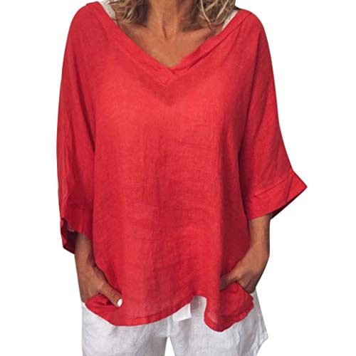 Short Sleeve Tee Blouse for Women,Amiley Women's V-Neck Cotton Linen Tee 3/4 Sleeve Tunic Top Solid T-Shirt Blouse (X-Large, Red)