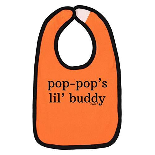 Pop-Pop Baby Bibs Grandpa Pop-Pop Gifts Pop-Pop Baby Gifts Pop-Pop's Lil' Buddy Baby Bib Orange/Black