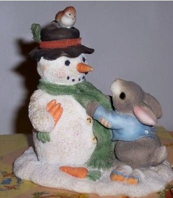 """My Blushing Bunnies """"Friendship Puts A Smile On Your Face"""" # 178659 Bunny Tying Bow On Snowman Figurine"""