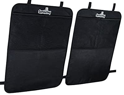 Kick Mats + Extra Large Organizer Pocket - Best Backseat Protector As Seat Covers For Your Car, SUV, Minivan or Truck - Vehicle Back Seats & Kids Safety Accessories - Universal Automotive Protectors