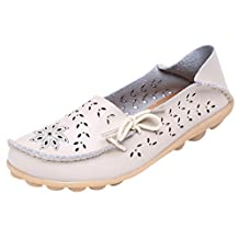 Serene Womens Leather Cowhide Hollow Out Casual Flat Driving Shoes Boat Loafers