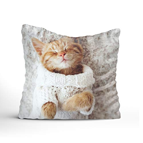 FunnyLife Dress Up A Nice Cat Designs Decorative Woven Couch Throw Pillows, square pillowcase ()