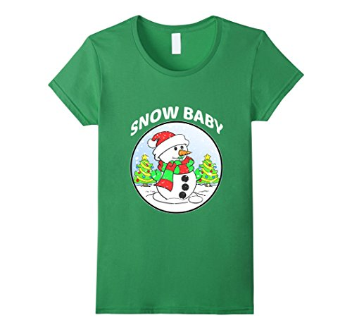 Women's CUTE SNOW BABY T-SHIRT Maternity Christmas Gift XL Grass (Cute Costumes For Pregnant Women)