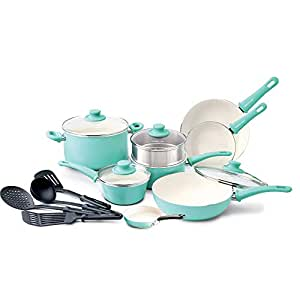 GreenLife Soft Grip 16pc Ceramic Non-Stick Cookware Set, Turquoise (Renewed)