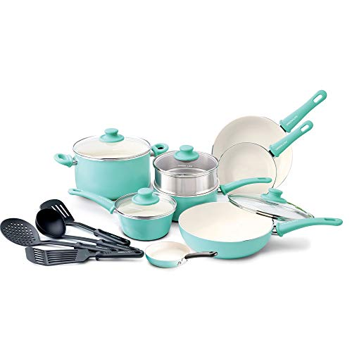 GreenLife Soft Grip 16pc Ceramic Non-Stick Cookware Set, Tur