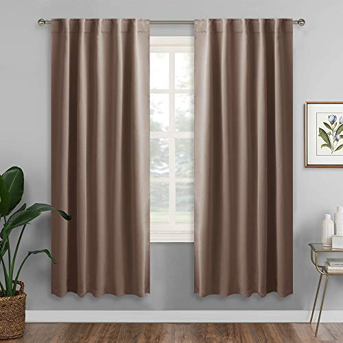 RYB HOME Decorative Curtain Drapes for Coffee, Blackout Window Panels Thermal Insulated Shades Block Summer Heat & Winter Cold for Energy Saving, 42 inch Wide x 72 inch Long, Mocha, 2 Panels