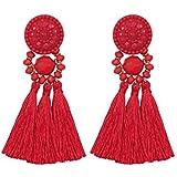 Vesungimey Bohemian Statement Thread Tassel Earrings - Chandelier Drop Dangle Cassandra Long Stud Earrings(12 colors available)