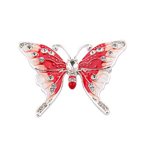 FEELMEM Crystal Rhinestone Butterfly Brooch Pin Blue Color Butterfly Brooches for for Women Girls Wedding/Banquet/Birthday Party (Orange)