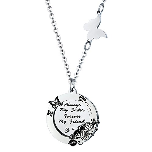 Sister Friendship Necklace Friend Gift for Women Girls - Always My Sister Forever My Friend