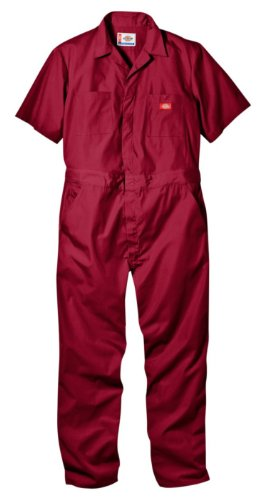Dickies Men's Short Sleeve Coverall, Red, Small Regular -