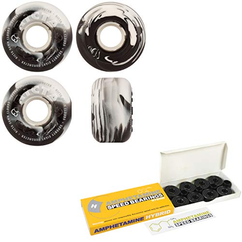 Ricta Skateboard Wheels with Hybrid Ceramic Bearings 56mm 78A Clouds Swirl Black