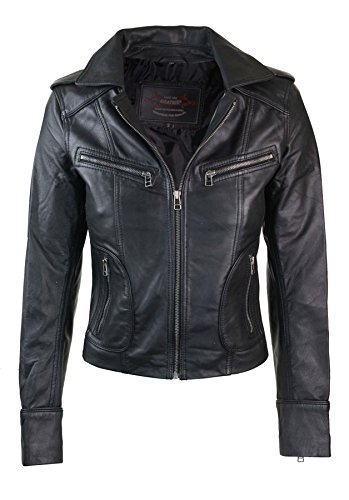Ladies Leather Bike Jacket - 9
