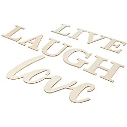 Live Laugh Love Sign - Unfinished Wood Inspirational Quotes Wall Decor, Decorative Wood Letters Cutout, for Home, Office, Wedding, Classroom Decoration