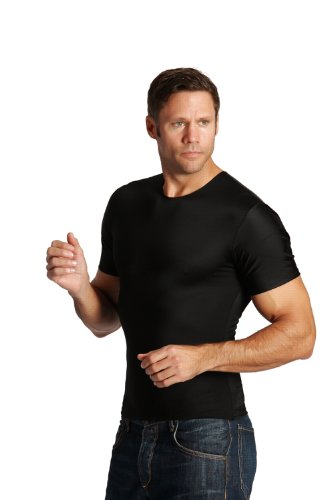 Insta Slim Mens Compression Crew-Neck T-Shirt (INT), The Magic Is In The Fabric! (3X-Large, Black) by Insta Slim (Image #4)