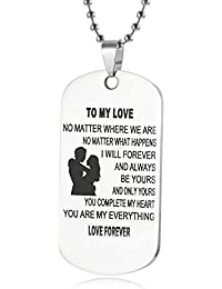 Dog Tag Necklace Gifts for Girlfriend Boyfriend Wife and Husband Jewelry Military Stainless Chains Air Force Pendants