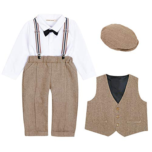 ZOEREA Baby Boy Suit Outfits Set,3pcs Long Sleeves Gentleman Romper Jumpsuit & Vest Coat & Berets Hat with Bow Tie (Brown, Label 90/Age 13-18 ()