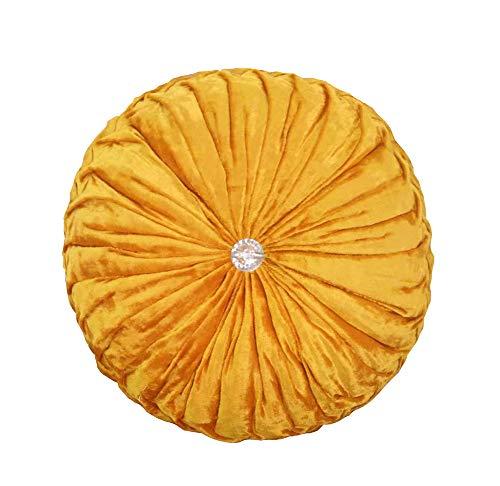 JINGXIN Round Velvet Pumpkin Pillow Sofa Throw Pillows Home Decorative Cushions-Diameter 13.39 inch,Golden ()